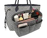 Felt Insert Fabric Purse Organizer Bag, Bag Insert In Bag with Zipper Inner Pocket Gray L