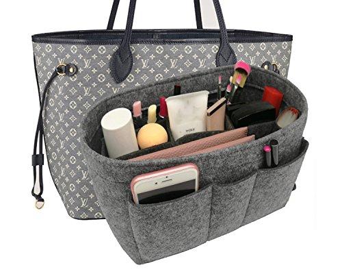Felt Insert Fabric Purse Organizer Bag, Bag Insert In Bag with Zipper Inner Pocket Gray S ()
