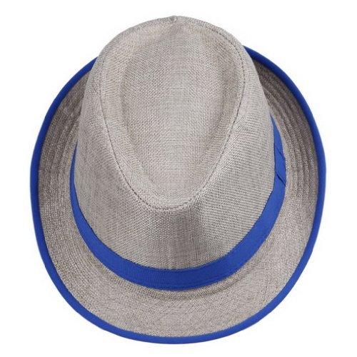 Smile YKK Men's Messer 20's Neon Strip Bootlegger Gangster Fedora Hat Blue