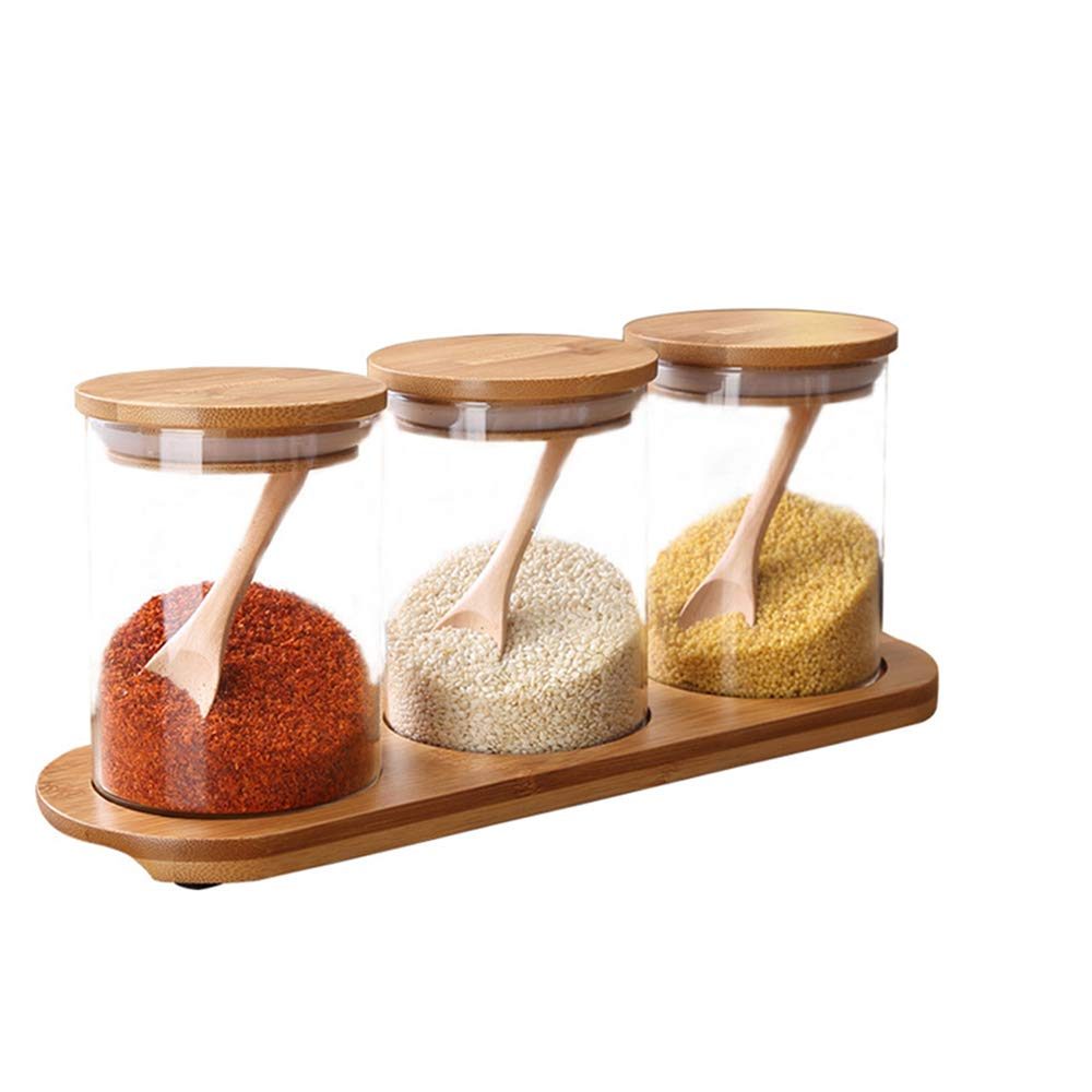 Clean and Transparent Condiment Container Seasoning Box Set Simple Fashion Glass Condiment Pots with Wooden Spoon Lid and Base