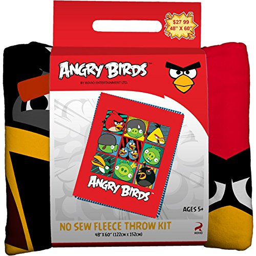 Angry Birds No-Sew Throw Anti-Pill Fleece Fabric Kit by David Textiles