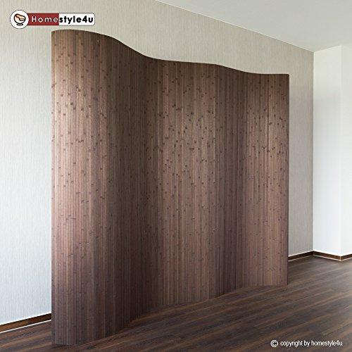 Homestyle4u Paravent Raumteiler Trennwand Bambus dunkelbraun Bambusraumteiler