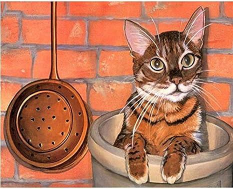 DIY Digital Painting By Numbers Package El gato en el pozo pintura ...