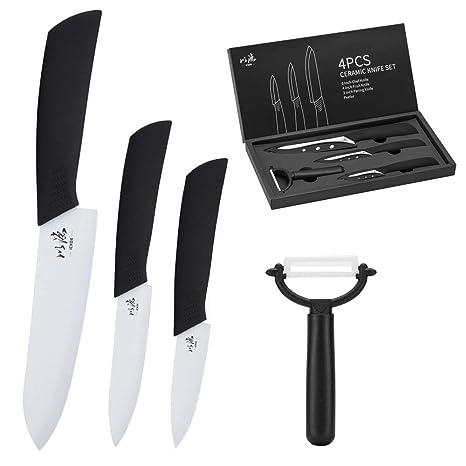 icxox Cuchillos de Cocina de Cerámica, 4 Piezas (3 x Cuchillos de Cerámica, 1 x Pelador de Cerámica, Blanco)