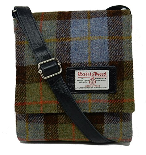 Leather Tweed Leather Trim Harris Harris Blue Bag Messenger with Trim Blue with Bag Harris Messenger Tweed qzwABO