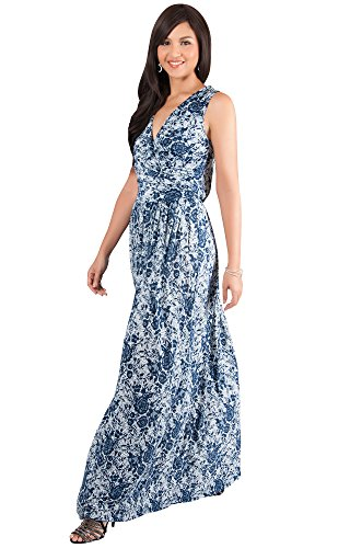 KOH KOH Petite Womens Long Lace Floral Print Sleeveless Semi Formal Summer V-Neck Vintage Cocktail Party Evening Flowy Cute Gown Gowns Maxi Dress Dresses, Navy Blue and White XS 2-4