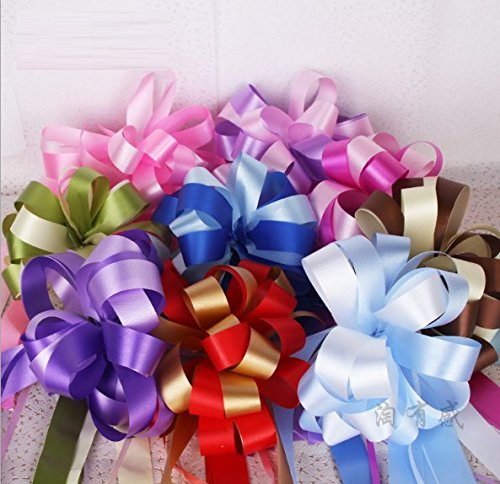 AUCH Elegant Festival PVC Pull Bows/Christmas Gift/Basket Knot with Ribbon Strings to Wrap the Box or Floral Decoration, Assorted Colors, Set of 9