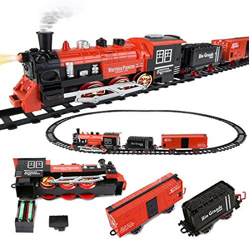- Roxie Battery Operated Classic Christmas Snowman Train and Carriage Toy Set with Music and Lights, Great for Kids