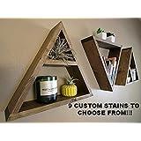 Wood Triangle Shelf - CUSTOM COLOR - Crystal Display Shelf - Geometric Wall Shelves - Dorm Decor - Mid Century Modern - Single or Set of Three Available