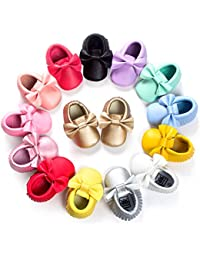 Baby Boys Girls Soft Soled Tassel Bowknots Crib Infant Toddler Prewalker Moccasins Shoes