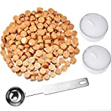 gold seal wax - Hestya 230 Pieces Octagon Sealing Wax Beads Sticks with 2 Pieces Tea Candles and 1 Piece Wax Melting Spoon for Wax Stamp Sealing (Gold)
