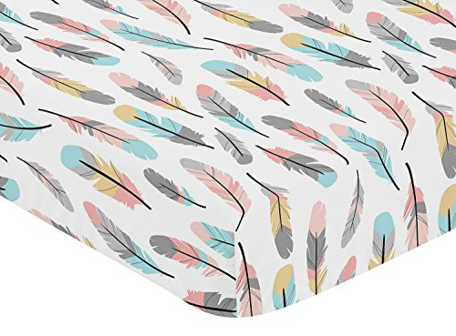 Sweet Jojo Designs Multicolored Feather Print Fitted Crib Sheet for Feather Collection Baby/Toddler Bedding Set - Kid Bedding Collection