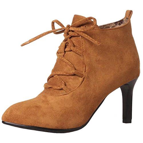 df0d6e049f46 AIYOUMEI Damen Stiletto Stiefeletten mit 7cm Absatz und Schnürung Herbst  Winter Reißverschluss Stiefel Ankle Boots Braun
