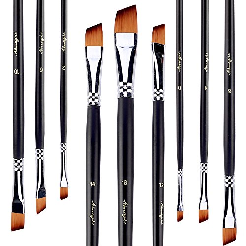 Angular Artist Brush Set - Angled Flat Tipped Brushes by Amagic Art Angular Paintbrush Set for Acrylic Oil Watercolor, 9 Pieces Face and Body Professional Painting Kits with Synthetic Nylon Tips