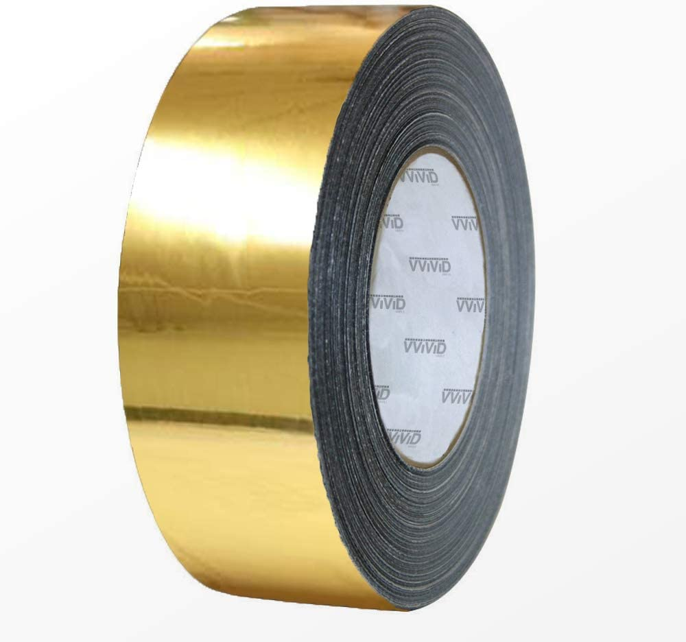 2 Inch x 30ft VViViD Gloss Gold Chrome Air-Release Vinyl Adhesive Tape Roll