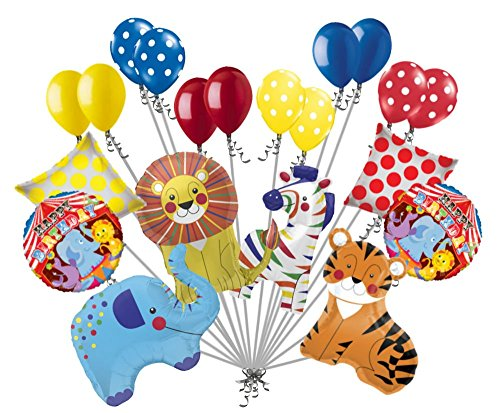 20 pc Circus Animal Balloon Bouquet Happy Birthday Decoration Carnival Elephant by Jeckaroonie Balloons