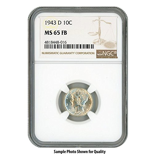 1943 D Silver Mercury Dime 10¢ MS65FB (1916 D Mercury Dime)