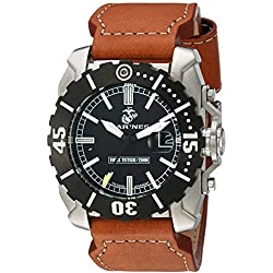 USMC Wrist Armor Men's 'C2' Swiss Quartz Stainless Steel and Leather Watch, Color:Brown (Model: 37WA0122L01A)