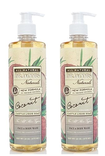 Dr. Jacobs Natural Face and Body Wash Coconut (Pack of 2) Natural Oils, New Formula, 2x Thicker Viscosity, All Skin Types and Double the Cleansing Power, 16 fl. oz. Each