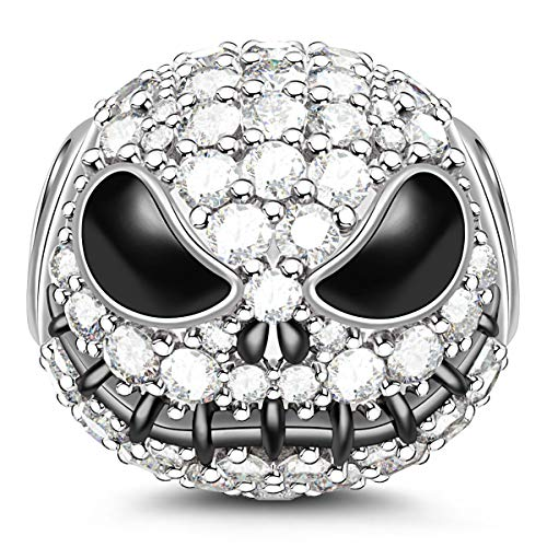 GNOCE Little Monster Black Plated 925 Sterling Silver Beads Charms with Cubic Zirconia for Halloween