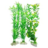 CNZ 3-piece Aquarium Plastic Artificial Plants, 9.8-inch Tall