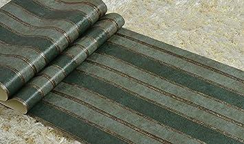 Retro American Country Wallpaper Dark Garden Tapeten Grüne Streifen