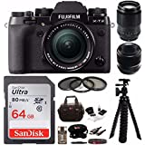 Fujifilm X-T2 Mirrorless Digital Camera w/18-55mm +60mm F2.4 Macro + 90mm F2R LM WR + Focus Camera 64GB Kit
