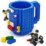 TOYAMBA Build-on Brick Mug - (Blue) Funny Coffee Mug with Bricks, Funny Cups for Kids - Creative Building Block Mug DIY Gift Idea