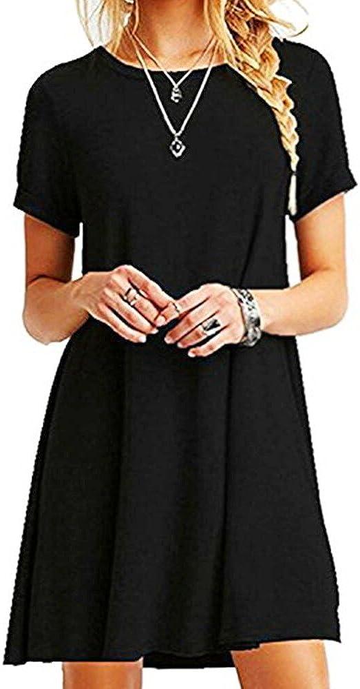 TALLA L. ZNYSTAR Mujer de Camiseta Suelto Casual Cuello Redondo Mini Vestidos Negro L