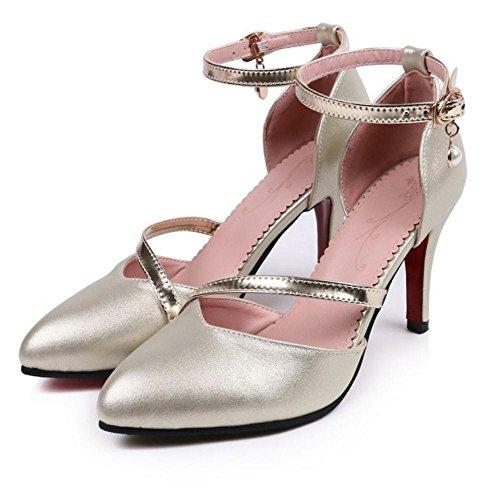 Sandales Gold Bout Chaussures Ferme Escarpins RAZAMAZA Talons Femmes Hauts F7CxwnOq