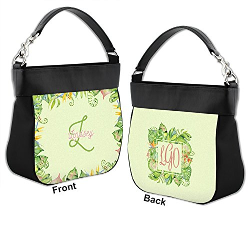 Trim Genuine Leaves Purse Back Border w amp; Leather Front Personalized Hobo Tropical 0HUTXxqU