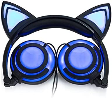 GBSELL Cat Ear Headphones Foldable LED Gaming Music Lights USB Charger Headphone Earphone Headset for Girls,Children,Compatible for iPhone 6S,Android Phone,Laptop Blue