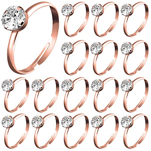 Engagement Ring Party Favors (Whaline 72Pcs Rose Gold Bridal Shower Diamond Rings, Adjustable Engagement Rings for Wedding Table Decorations, Bridal Shower Game and Party)