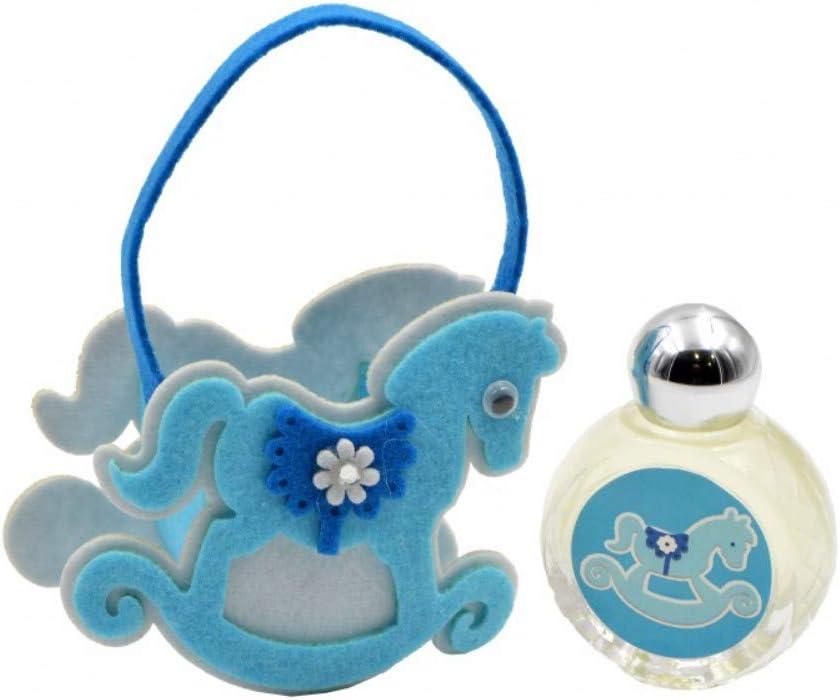 Lote de 10 Bolsas Decorativas de Fieltro Azul con Colonia Aroma Jazmín a Elegir. Recuerdos. Adornos. Regalos Originales.Detalles de Bodas, Comuniones, Bautizos, Cumpleaños. CC. (CABALLITO)