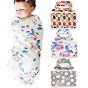 Newborn Floral Swaddle BQUBO Receiving Blanket with Headbands Hats Sleepsack Toddler Warm Baby Shower Gift(Pack 1, 3) (3 Pack with Headbands)