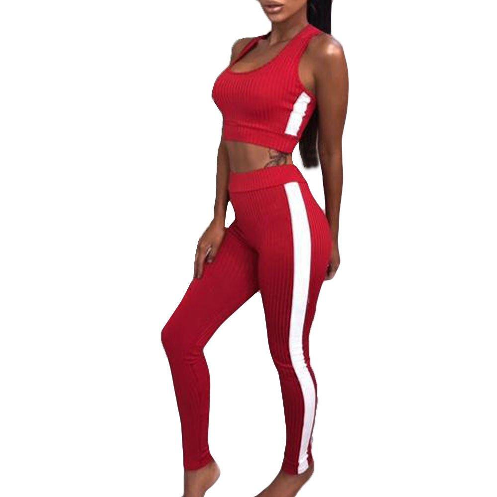 Homebaby 2 Pezzi Tuta Donna Set di Canotta e Leggings da Donna Tuta da Ginnastica Donna Elegante Sportivo Estiva Ragazze Casuale Yoga Pantaloni Corti da Jogging Fitness Sportive Abbigliamento