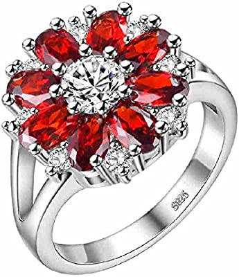 Uloveido White Gold Plated Women Flower Ring With Red Stone For
