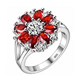 Uloveido Girls 8 Red Petals Cocktail Flower Engagement Rings for Women Summer Gift J676 Size7