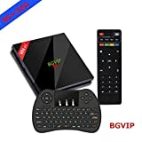 BGVIP Upgraded Android 7.1 H96 Pro+ TV Box 3GB 32GB Amlogic S912 Octa Core Dual Band WIFI Supports Set-Top Box with Wireless Backlight Keyboard (3D, 4k, 1000M LAN)