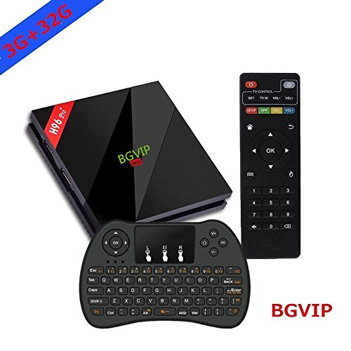 BGVIP Upgraded Android 7.1 H96 Pro+ TV Box 3GB 32GB Amlogic S912 Octa Core Dual Band WIFI Supports Set-Top Box with Wireless Backlight Keyboard (3D, 4k, 1000M LAN) by Bgvip