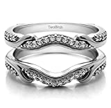 Contoured Wedding Ring Jacket with 0.26 carats of Diamonds (G-H,I2-I3) in Sterling Silver