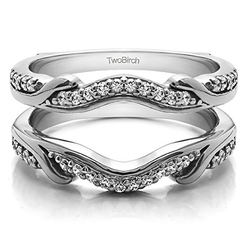 Contoured Wedding Ring Jacket with 0.26 carats of Diamonds (G-H,I2-I3) in Sterling (Platinum Ring Guard)