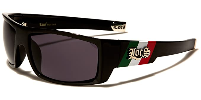 7aba5ff7aa Image Unavailable. Image not available for. Color  Locs All Black  Rectangular Warp Mexican Flag Gangster Sunglasses