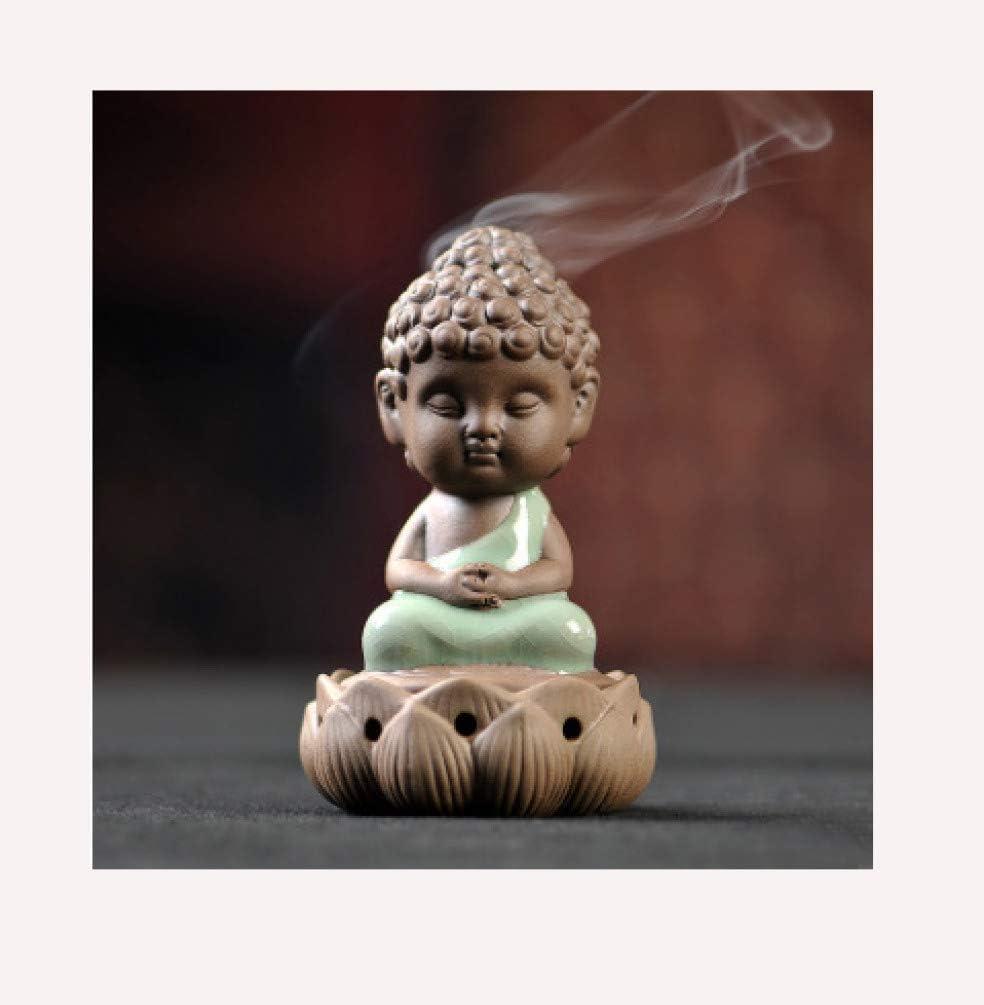 JOYOTER Porcelana Buda Monje Porta Incienso Quemadores de Incienso de cerámica Cascada Reflujo Monje Incensario para un Gran Regalo