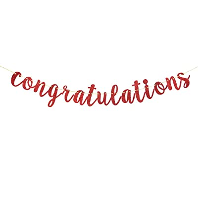 Red Glitter Congratulations Banner for Happy Wedding,Anniversary,Graduation,Retirement Party Decorations Supplies: Toys & Games [5Bkhe0303314]