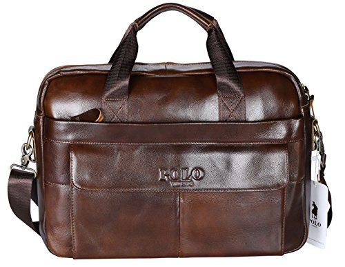 POLO VIDENG Leather Briefcase,Handmade Laptop Bag Messenger Business Bags for Men (Dark - Bag Men Versace