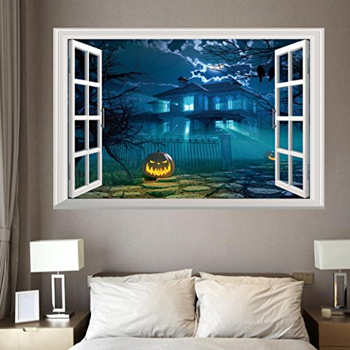 Clearance Sticker,Han Shi Happy Halloween Fashion Wall Sticker Removable Mural Decor Paper (M, C)