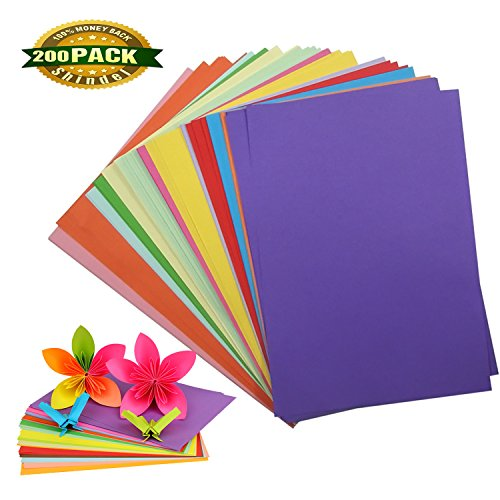 Color Copy Paper, Handmade Folding Paper Card Stock Craft Origami for Arts and Crafts Thanksgiving Day Christmas Present, 200 Sheets Paper Craft Cards Christmas