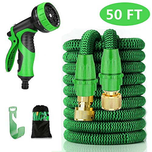 MHOSE 50ft Expandable Garden Hose, Flexible Expanding Water Hose Extra Strong Stretch Material with Brass Connectors – Bonus 9 Way Spray Nozzle, Lightweight outdoor Yard hose