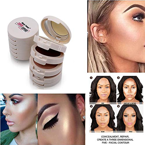 Euone  Concealer Cream, 5 in 1 Concealer Contouring Makeup Palette Foundation Base Face Compact Powder